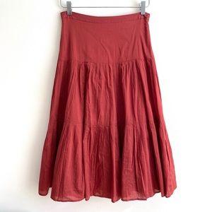 J CREW Boho Tiered Midi Maxi Skirt Rust Red size 0